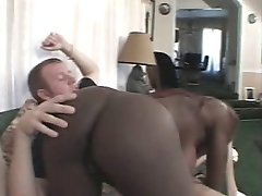 Tattooed ebony vixen swallows huge meaty interracial cock