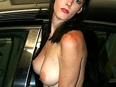 HOT young HOUSEWIFE getting naked in CAR