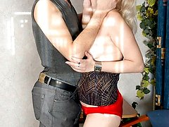 Sexy mature blonde in stockings seduced by younger stud