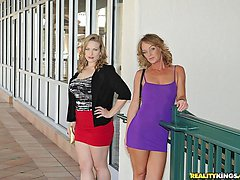 2 super hot mini skirt milfs pounded hard against the couch screaming group sex cumfaced real...