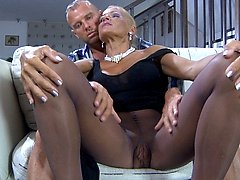 Sultry upskirt milf lured into pussy cramming thru her sheer-to-waist hose