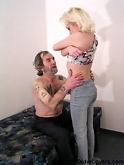 Tattooed old man with an innocent girl