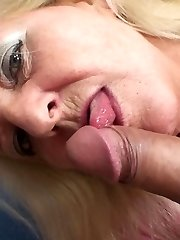 The wrinkled blonde granny gets his young dick hard and he tags her pussy deeply