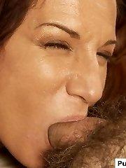 Gorgeous MILF gives a blowjob