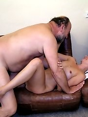 Old bearded man with naughty girl