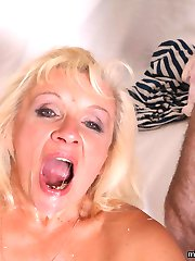 Horny blond mother fucked real hard by her grown up son!