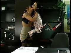 Stunning secretary getting spread on the desk by sex-crazy mature lesbian