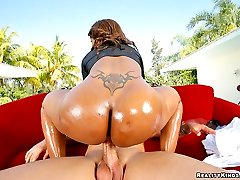 Amazing round ebony ass ayana sucks on a hard cock gets her tits fucked rides it hard in many...