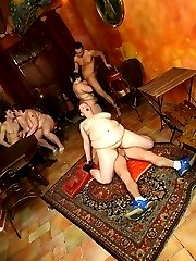 Hot body BBW is naked in the bar and her snatch is filled up by a nice thick dick meat
