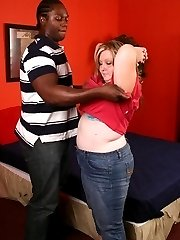 Sexy blonde bbw Dani hooks up with a black stud and takes intense pussy filling from his black...