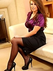 Stunning busty Sarah in silk secretary clothing