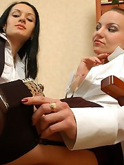 Office girls in plain top nylons go for kissy-licky play after some booze