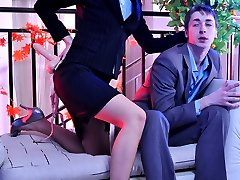 Shy office babe gets lured into strapon action by her freaky male co-worker
