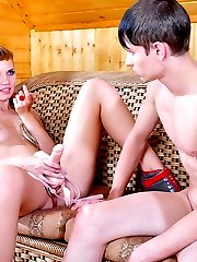 Lusty hottie brings a strapon toy and turns her boyfriend into a male whore