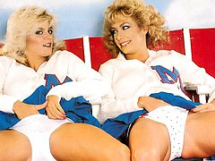 Retro cheerleader lesbians