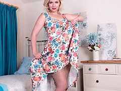 Anna is feeling fresh, lovely in her floral frock and stiletto sandals. Underneath shes in rare...