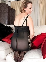 Mature blonde Tiffany strips in vintage nylons and lingerie!