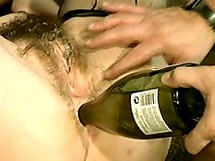 Hairy woman enjoys anal penetration with bottle after hardcore