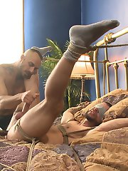 Jessies got a new buddy named Tex Davidson. Tex has never been tied up before, so he takes the...