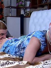 Nasty gay sissy wears a girlie dress and make-up to seduce a straight mate