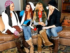 Sexy lesbian girls playing in the snow goto the cabin and getblonds brunets the works huge butss...