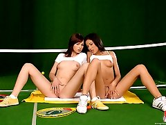 Sapphic sex on a tennis court