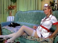 White-stockinged nurse strips naked to try on gorgeous black lacy stockings