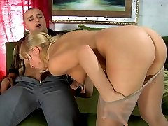 Pantyhose clad blonde teasing a hung stud itching for raw nylon screwing