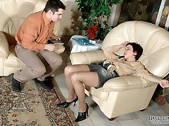 Pantyhosed chick seducing a guy into hardcore action with her upskirt look