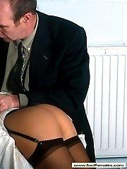 Demure miss in stockings spanked hard on her lovely bare bottom - flaming cheeks