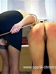 Severe leg spread caning with panties removed for shameful school girl in pain