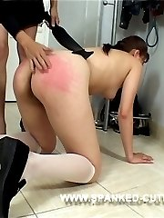 Blistering otk spanking and caning for pretty school girl on her firm young bottom