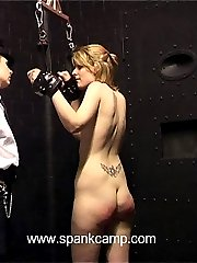 Naked lovely chained in the cells and brutally paddled on her hot quivering ass cheeks