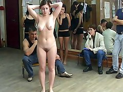 Young teen girl with big tits and wobbly ass bends over the chair for a hard paddling