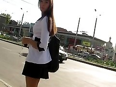 Cute teen followed by upskirt hunter