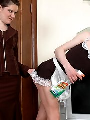 Sissy maid in uniform ready for overtime work jumping on a babes strap-on