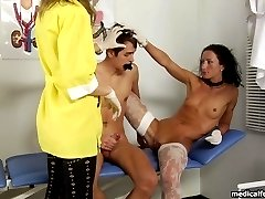 Dominative female doctors make a guy beat off