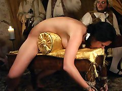 Shameful bare assed spanking for buxom babe with red swollen cheeks