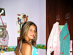 Hot babes in tiny bikini panties dance on camera