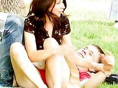Sitting upskirt of a cute brunette