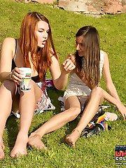 Girls playing their panties upskirts