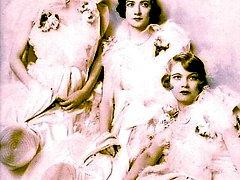 Vintage ladies perform nude