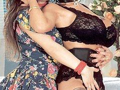 Two retro lesbians kissing