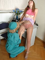 Freaky mature nurse and cute patient getting to tongue-fucking through hose