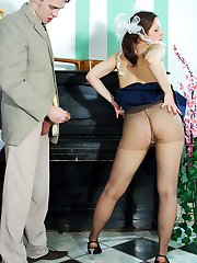 Frisky coed in tan pantyhose playing piano before getting down into fucking
