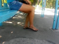 Tiesus Seksualus Kojų, & Kojų sandalus Autobusų stotelė Ne Veidas