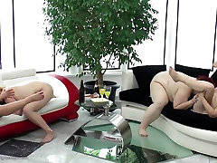 Crazy old and young lesbian group fuck
