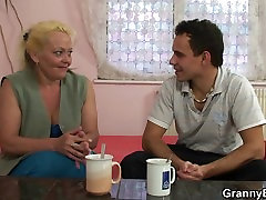 Blonde skinny granny young guy mature gets her hairy pussy slammed