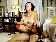 Beautiful busty mature brunette loves a sticky facial