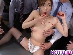 Aiko has parade and sastr on bust and face after blowjob